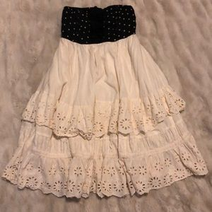 Anthropologie Strapless Polka Dot And Lace Dress